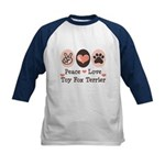 Peace Love Toy Fox Terrier Kids Baseball Jersey