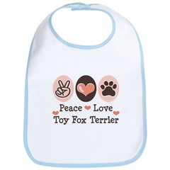 Peace Love Toy Fox Terrier Bib