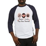 Peace Love Toy Fox Terrier Baseball Jersey