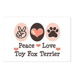 Peace Love Toy Fox Terrier Postcards (Package of 8