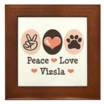 Peace Love Vizsla Framed Tile
