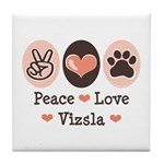 Peace Love Vizsla Tile Coaster
