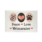 Peace Love Weimaraner Rectangle Magnet (10 pack)