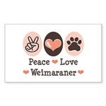 Peace Love Weimaraner Rectangle Sticker