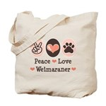 Peace Love Weimaraner Tote Bag