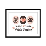 Peace Love Welsh Terrier Framed Panel Print