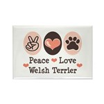Peace Love Welsh Terrier Rectangle Magnet (10 pack