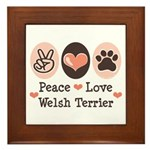 Peace Love Welsh Terrier Framed Tile