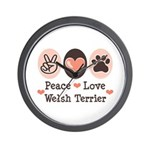 Peace Love Welsh Terrier Wall Clock