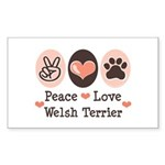 Peace Love Welsh Terrier Rectangle Sticker