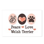 Peace Love Welsh Terrier Postcards (Package of 8)