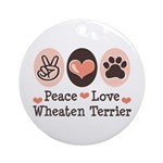 Peace Love Wheaten Terrier Ornament (Round)