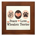 Peace Love Wheaten Terrier Framed Tile