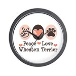 Peace Love Wheaten Terrier Wall Clock