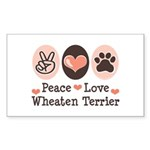 Peace Love Wheaten Terrier Rectangle Sticker