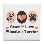 Peace Love Wheaten Terrier Tile Coaster