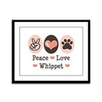 Peace Love Whippet Framed Panel Print