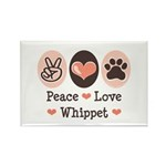Peace Love Whippet Rectangle Magnet (10 pack)