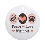 Peace Love Whippet Ornament (Round)