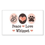 Peace Love Whippet Rectangle Sticker