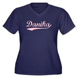 Vintage Danika (Pink) Women's Plus Size V-Neck Dar