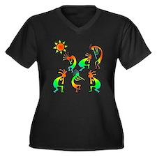 Kokopelli Sun Dance Women's Plus Size V-Neck Dark