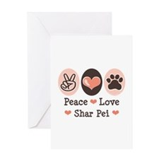 Peace Love Shar Pei Greeting Card