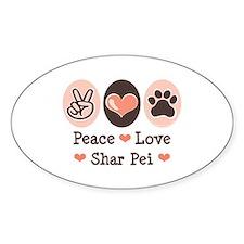 Peace Love Shar Pei Oval Decal