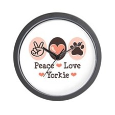Peace Love Yorkie Wall Clock