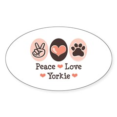 Peace Love Yorkie Oval Sticker
