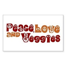 Peace, Love and Veggies Rectangle Bumper Stickers