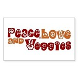 Peace, Love and Veggies Rectangle Decal