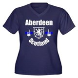 Aberdeen Scotland Women's Plus Size V-Neck Dark T-