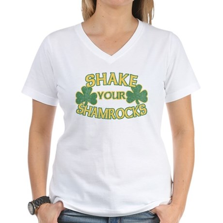 Shake Your Shamrocks Womens V-Neck T-Shirt