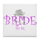 bride 2 be flower Tile Coaster