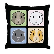 4 Cavies Throw Pillow (Black Background)