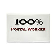 100 Percent Postal Worker Rectangle Magnet
