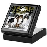 AUSTRALIAN SHEPHERD DOGS FALL Keepsake Box