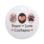 Peace Love Cockapoo Ornament (Round)