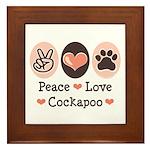Peace Love Cockapoo Framed Tile