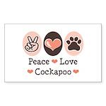 Peace Love Cockapoo Rectangle Sticker