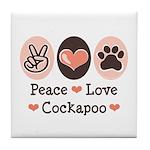 Peace Love Cockapoo Tile Coaster