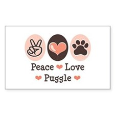 Peace Love Puggle Rectangle Decal