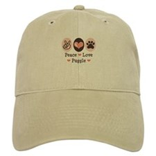 Peace Love Puggle Baseball Cap