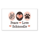 Peace Love Schnoodle Rectangle Decal