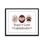 Peace Love Labradoodle Framed Panel Print