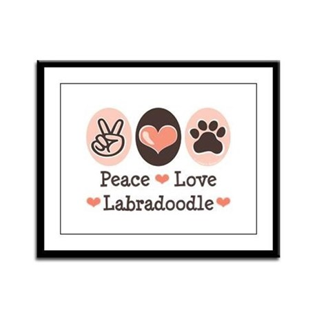 Peace Love Labradoodle Framed Panel Print