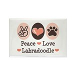Peace Love Labradoodle Rectangle Magnet (100 pack)