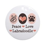 Peace Love Labradoodle Ornament (Round)