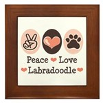 Peace Love Labradoodle Framed Tile
